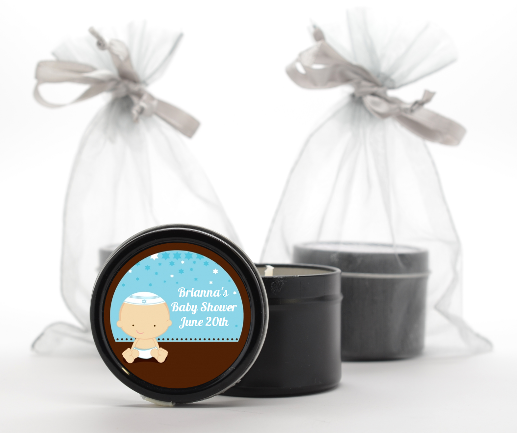 jewish baby boy baby shower black candle tin favors