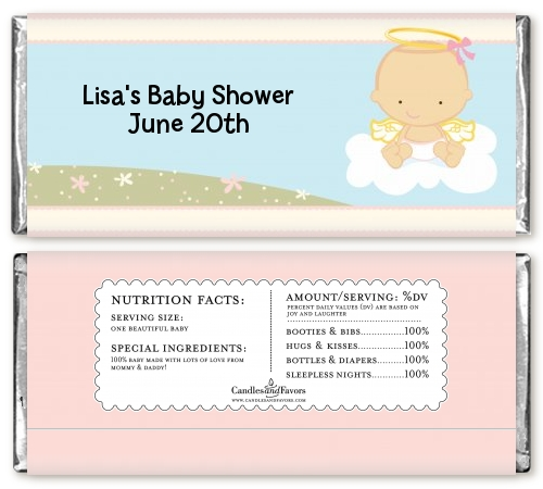 Angel In The Cloud Girl Personalized Baby Shower Candy Bar Wrappers