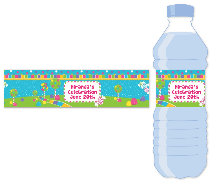 Candy Land Water Bottle Label | Birthday Party Water ...