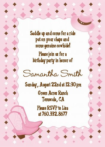 Blank Cowgirl Invitations Cowgirl western - birthday
