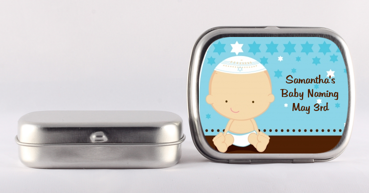 jewish baby boy baby shower mint tin favors candles favors