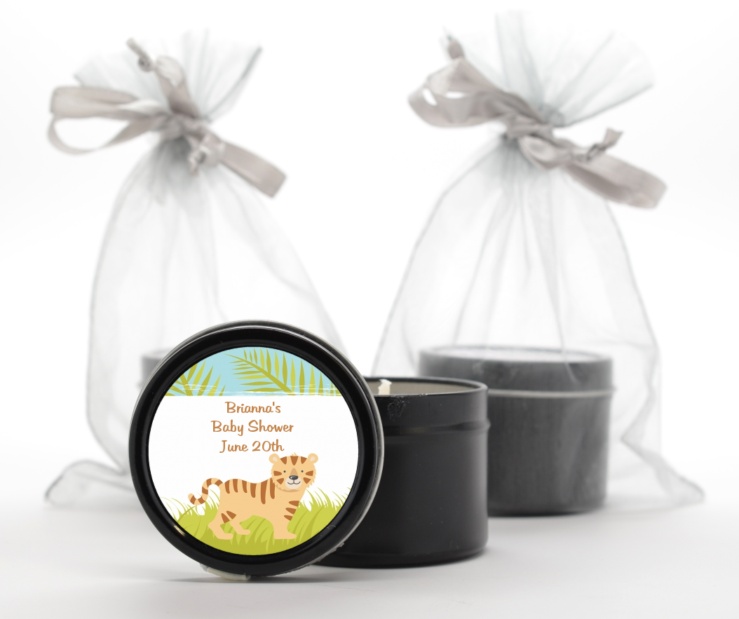 tiger baby shower black candle tin favors