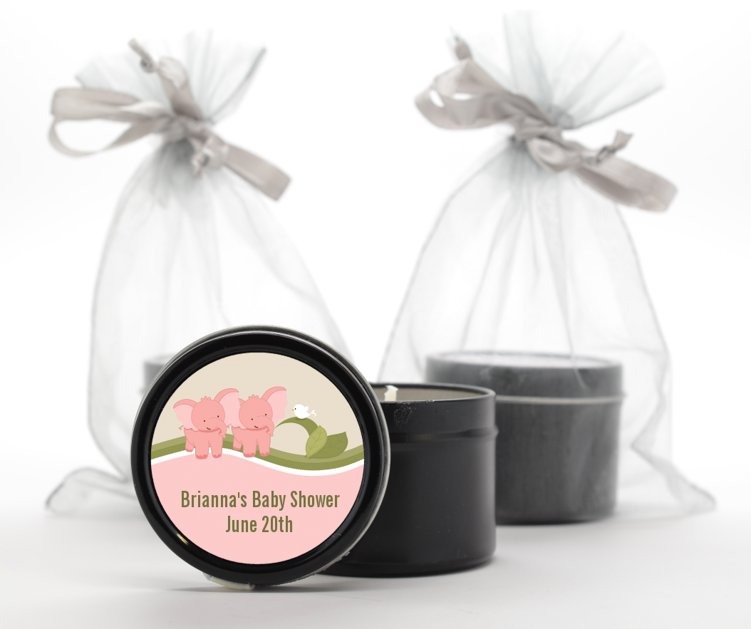 twin elephant girls baby shower black candle tin favors