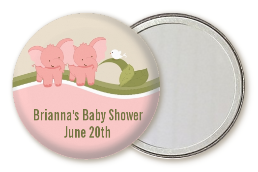 twin elephant girls personalized baby shower pocket mirror favors