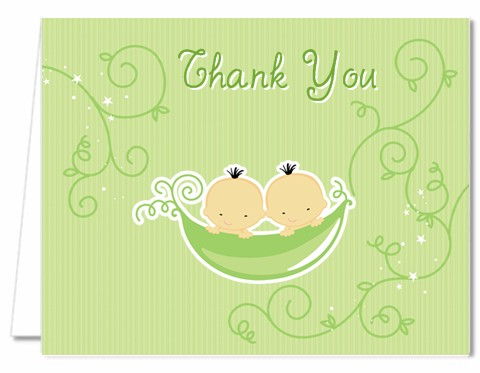 baby shower thank you cards twins two peas in a pod asian thank you
